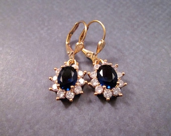 Cubic Zirconia Earrings, Sapphire Blue and White, Gold Dangle Earrings, FREE Shipping U.S.