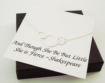 Large Triple Circle Infinity Silver Necklace ~Personalized Jewelry Gift Card for Daughter, Sister, Best Friend, Sister In Law, Bridal Party