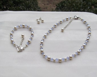 Wedding Jewelry Lavender Periwinkle Crystals and Ivory Pearls Bridesmaid Flower Girl Jewelry Set