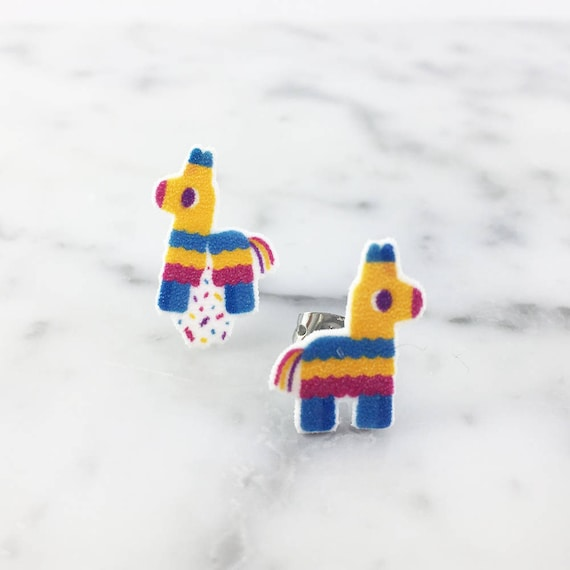 Small, pinata, mexican, horse, earring, color, light, hypoallergenic, plastic, stainless stud, handmade, les perles rares