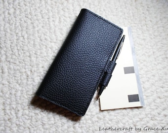 100% hand stitched handmade black cowhide leather checkbook cover
