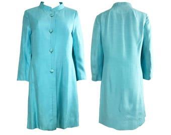 Vintage Pale Blue Linen Blend 1960s Coat