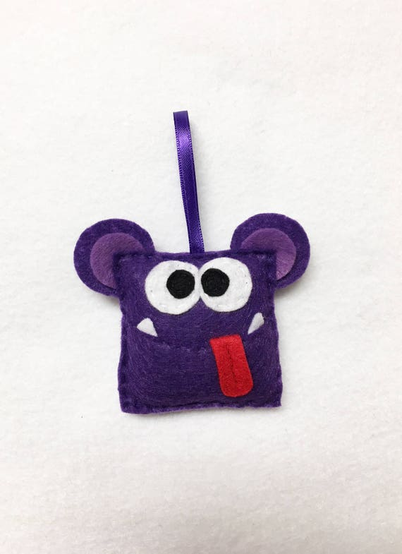 Monster Ornament, Christmas Ornament - Allison the Square Monster - Monster Nursery Decoration