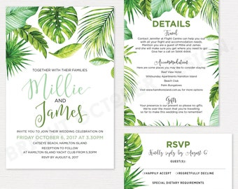 Tropical wedding invitation suite | destination wedding | digital download