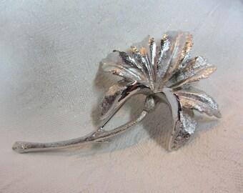 Coro Pegasus Silver Tone Flower Brooch - Pristine Condition