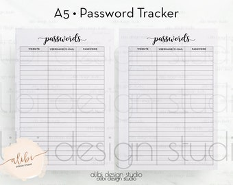 Password Tracker, A5 Planner Inserts, Password Log, Password Printable, Password Keeper, Password Journal, Printable Planner, A5 Filofax