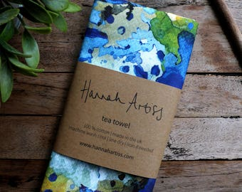 Botanical Blue Bark Designer Tea Towel