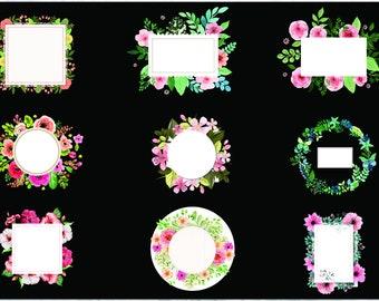 Watercolor Floral Frames Clipart/Wedding Frames/SVG,PNG, EPS 300 ppi/ Floral Frames/ Flowers Clipart/Digital Frames/Wedding Invitation