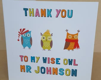 Personalised Thank You  Teacher Owls  Card Extra Large 210 x 210mm