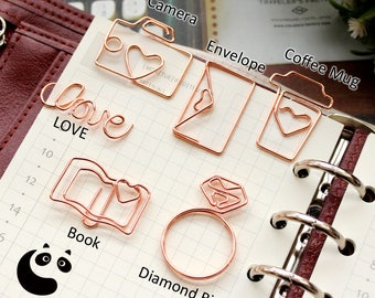 Paper Clips (Rose Gold) Diamond Ring Coffee Mug LOVE Envelope Book Camera/ Office Accessories / For Her / Gift /Planner Paper Clips