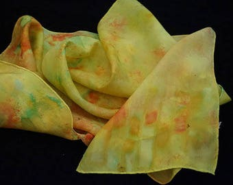 clothing giftshand dyed silk scarf, ice-dyed silk scarf, hand dyed scarf, 100%silk scarf, scarf, scarves, ladies  scarf, , neck scarf
