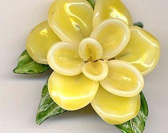 Rare Vintage Hand Blown Glass Yellow Flower Regency Brooch