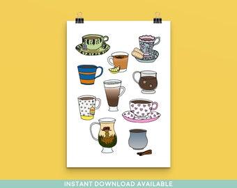 Favourite Things: Tea and Coffee Art Print