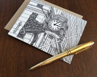 Marshall Fields Building Clock - Chicago City Series Letterpress Note Card