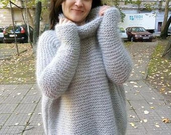 Hand-knit sweater of Mohair Chunky knit sweater. Oversized Loose knit sweater. Thumb holes sweater. Turtleneck women sweater.