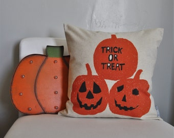 Pumpkin, Trick or treat pillow, Halloween Decor, Fall pillow, halloween, halloween pillow, Welcome pillow