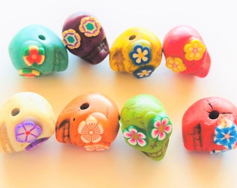 Sugar Skull Beads Rainbow Flower Collection of 8 Horizontally Drilled Day of the Dead Skull Beads 13mm