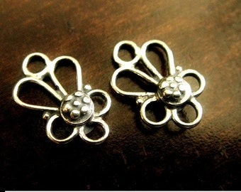 925 Bali Chandelier, Sterling Silver Floralette Earrings, Oxidized Earrings, 13x8.5x3mm