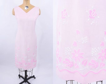 1960s shift dress   60s pink embroidered hearts dress   vintage linen shift dress   M