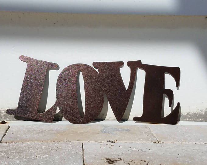 Featured listing image: Metal Love Sign - Metal Letters - Metal Wall Art - Live Laugh Love - Outdoor Decor - Home Decor - Word Art - Quote Set - Wall Art Metal