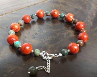 Red Coral Bracelet, Jasper Bracelet, Red and Green Bracelet, Sterling Silver Bracelet, Gemstone Bracelet, Gift for HerHoliday Gift for Her