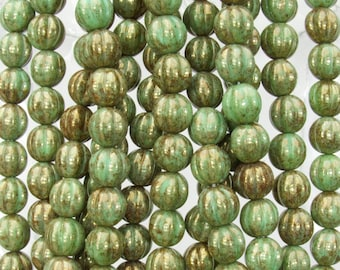 8mm Opaque Olive Gold Luster Czech Glass Melon Beads - Qty 25 (BS93) SE