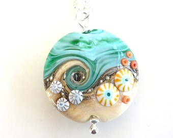 Sand & Sea, handmade glass bead, extra large lentil pendant, by Beach Art Glass in the UK