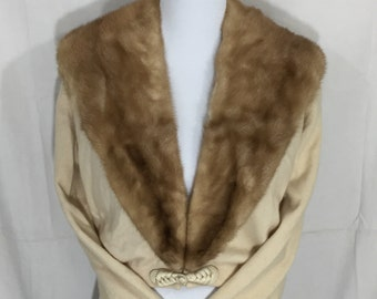 REDUCED PRICE! Fur collar sweater 50s vintage ivory cashmere and tan fur, woven toggle S/M