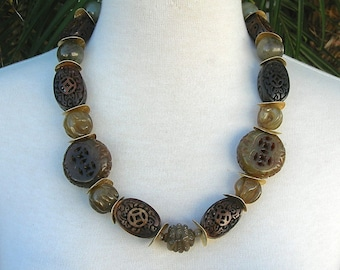 Chunky Chinese Zodiac, Beads: 5 Carved Zodiac, 4 Plain Burnt Serpentine, 2 Large Carved Jade, 6 Carved Wood Beads, Necklace by SandraDesigns