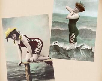 Edwardian Bathing Beauty 2 New 4x6 Vintage Postcard Image Photo Prints BB08 BB21