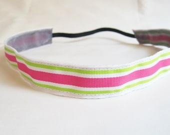 Non-slip Pink Green Stripe Running Headband, Pink Workout Headband, Stripe Running Headband