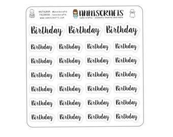 27 Script Birthday Planner Stickers Handwritten Font Black Planner Stickers Birthday Stickers Erin Condren Stickers