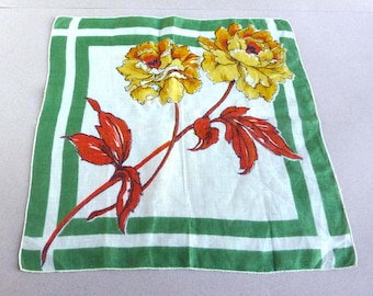 Vintage Womens Handkerchief Big Yellow Flowers Green Leaves Green Double Border Crisp Bold Graphic Floral Print Linen 1960s