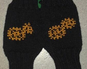 Black fingerless mittens, gear embroidery