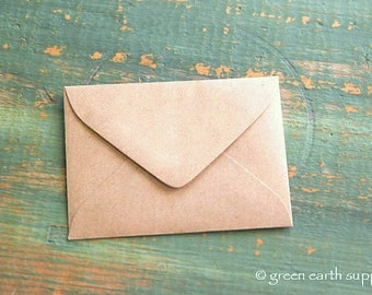 "100 Mini Kraft Brown Envelopes: 3 5/8"" x 2 5/8"", Kraft Grocery Bag Mini Envelopes, ACEO envelopes, ATC envelopes"
