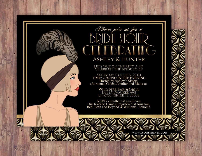 Great Gatsby wedding shower invitation, Hollywood film theme ...