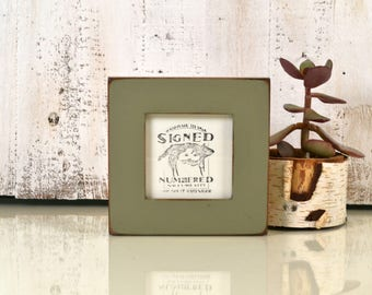 4x4 Square Picture Frame in 1.5 inch Standard Style on Alder with Vintage Old Green Finish - IN STOCK - Same Day Shipping Frame Green 4 x 4""