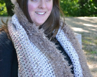 Owl's Hearth -- Big Large Warm Smushy Fuzzy Neutral Crochet Scarf Statement Luxury Cowl