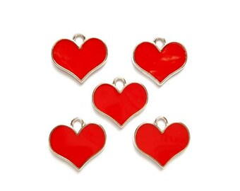 5 Red Enameled Heart Charms - 27-16-3
