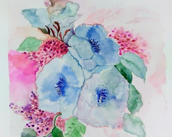 Watercolour, painting, flowers, flowers, picture, handmade, original watercolor painting, watercolour paintings, watercolours, watercolor painting