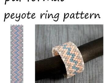 Grey pink ring beaded pattern Even peyote ring pattern Instant download Beading tutorial Ring pattern design Peyote beaded ring making