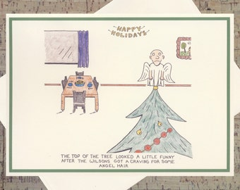 Angel Christmas Card, Angel Holiday Card, Christmas Tree Card, Funny Holiday Card, Funny Christmas Card, Quirky Holiday Card