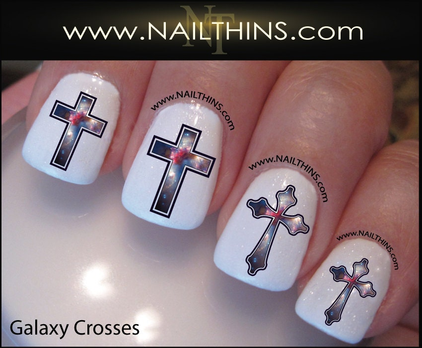 🔎zoom - Galaxy Nail Decal Cross Star System Nails NAILTHINS Nail