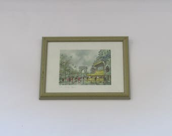 vintage framed  French art print of The Avenue des Champs Élysées, wall hanging framed print, Paris art, vintage wall art, for wall.