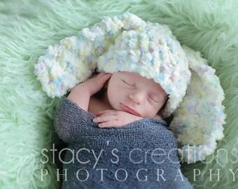 Crochet Baby Bunny Hat, Floppy Ear Bunny Hat, Fluffy baby Hat, Newborn Rabbit Hat, Baby Easter Hat, Baby Hat, Baby Animal Hat, Easter Bunny