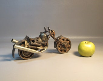 Hand Crafted Motorcycle Sculpture All Found Metal Objects c1960 Welded Folk Art