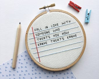 Kanye West Cross Stitch - Funny Embroidery - Hoop Art