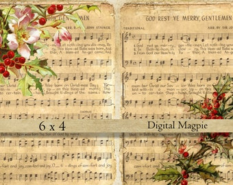 Christmas music digital collage sheet shabby vintage images on old paper for instant download 6 x 4 printable scrapbook craft paper