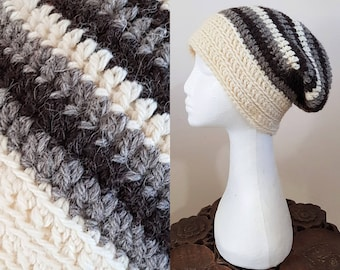 THE SLOUCH Handmade Boho Pure Undyed Jacobs Sheep's Wool Crochet Knit Beanie Slouchy Hippy Indie Hat Cream & Brown Stripes