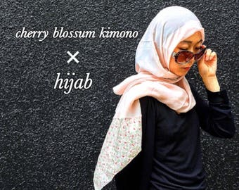 Cherry Blossum Japannese Kimono×hijab/islamic wear/Muslim headgear
